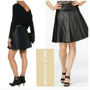 Micheal Michael Kors Pleated Faux Leather Skirt 2